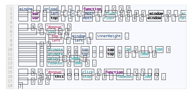 プログラムソースを綺麗に表示する _崩れた画面_cut